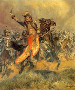 De charge van generaal de Lasalle bij Wagram, juli 1809