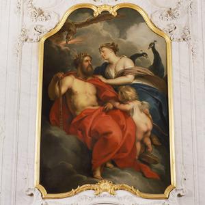 Allegorische voorstelling van de elementen vuur en lucht, verbeeld door Jupiter en Juno