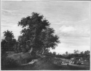 Landschap met herders en vee bij een waterval