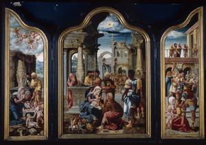 De aanbidding van de herders (links), de aanbidding van de Wijzen (midden), de kindermoord te Bethlehem (rechts)