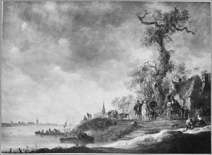 Landschap met reizigers voor een herberg op de oever van een rivier, links in het verschiet de toren van Rhenen