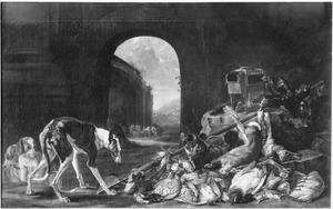 Jachtbuit van haas, gevogelte en een kop van een everzwijn, in het midden een doorkijk door een halronde poort naar een bergachtig landschap met in de voorgrond een aantal ruiters die hun paarden laten drinken; links drie honden
