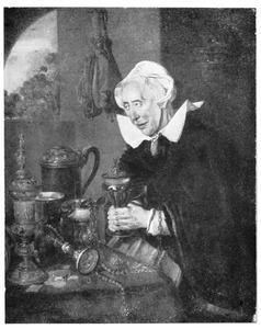 Oude vrouw aan een tafel met kostbaarheden
