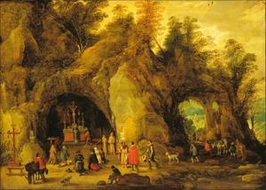 Bergachtig landschap met een kapel in een grot