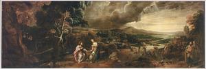 Boslandschap met Jezus en de Samaritaanse vrouw bij de bron