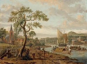 Rivierlandschap schepen en reizigers voor een stad