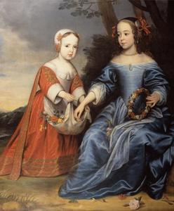 Dubbelportret van prins Willem III van Oranje-Nassau (1650-1702) en pinses Maria van Oranje-Nassau  (1642-1688) als kinderen