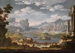 Landschap met een oprukkend leger, op de achtergrond de belegering van een stad