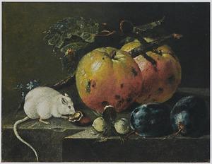 Stilleven met vruchten, noten en een witte muis