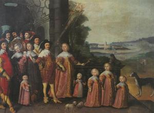Portet van Hertog Friedrich III van Sleeswijk-Holstein-Gottorf met zijn familie en hofhouding in de tuin met op de achtergrond Slot Gottorf