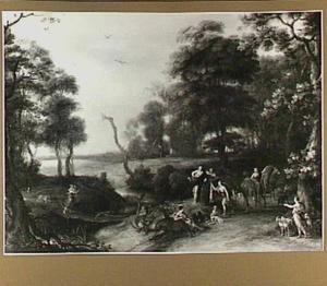Boslandschap met Diana en gezellinnen rustend tijdens de jacht