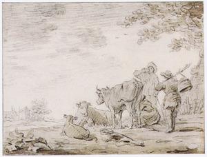 Koeien met melkende boerin en andere figuren