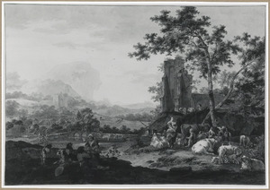 Herders met vee bij een ruïne in een heuvellandschap
