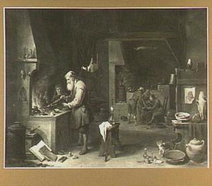 De alchemist in zijn werkplaats