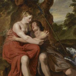 Venus en Adonis als liefdespaar