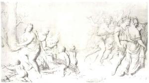Winter verdrijft de Herfst, met Ceres and Bacchus die Venus verlaten (allegorie van de Winter)