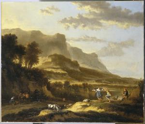 Zuidelijk berglandschap met dansende herders