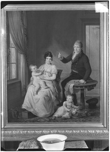 Portret van Pieter Walland (1758-1815), Jkvr. Carolina Johanna Cornelia Falck (1772-1834) en hun kinderen