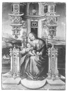 Tronende Maria met kind voor een landschap