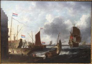 Schepen bij een havenstad
