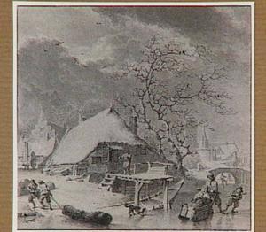 Winterlandschap met schaatsers, op de achtergrond een kerk en de toren van het kasteel in Wijk bij Duurstede (allegorie van de Winter)
