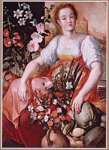 Marktkoopvrouw met bloemen en groenten