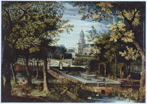 Boslandschap met een formele tuin en een kasteel