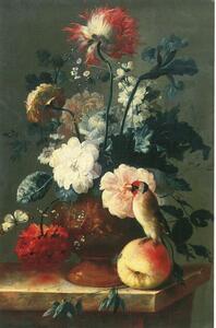 Stilleven van bloemen in een vaas en een vogel zittend op een perzik
