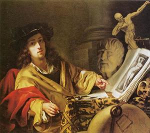 Zelfportret van Gottfried Kneller (1646-1723)