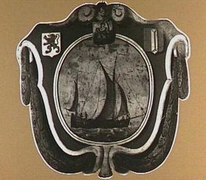 Begrafenisschild van het Groot Schippersgilde, met afbeelding van een statiepoen