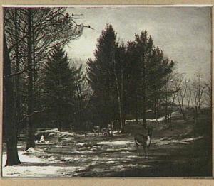 Winterlandschap met herten