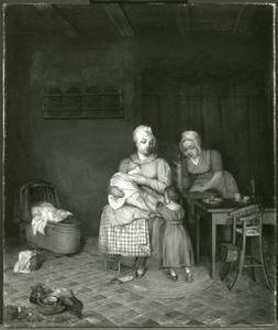 Huiselijk tafereel met zogende moeder