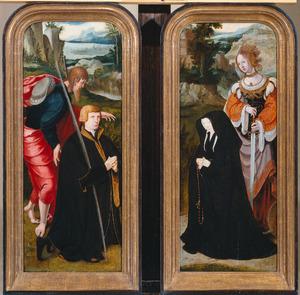De H. Jacobus de Meerdere met stichter (links); De H. Catharina met stichtster (rechts)