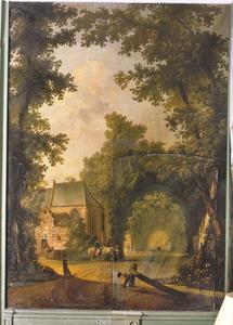 Landschap met kapel en gezicht op een weg door het bos