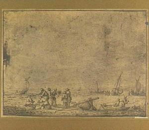 Strandgezicht met vissers en boten