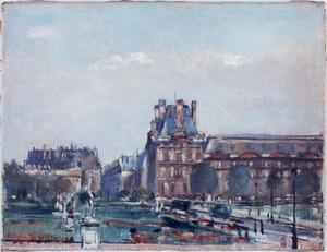 Parijs stadsgezicht met Louvre