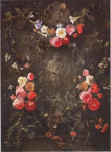 Cartouche met bloemguirlandes rondom een voorstelling van 'Ecce Homo'