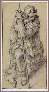 Knielende herder met een lam