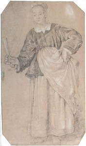 Staand dienstmeisje met glas in de hand