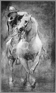 Soldaat te paard, voorstudie voor een der soldaten in het martelaarschap van de H. Sebastiaan