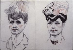 Portret vrouw - twee schetsen