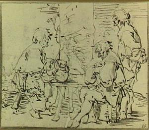Boeren rond een tafel