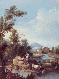 Italiaans landschap met rivier, figuren en vee