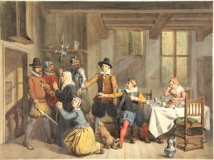 Jongeman gevangen genomen door soldaten in een zeventiende-eeuws interieur