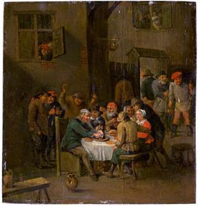 Etende en drinkende boeren aan een tafel bij een herberg