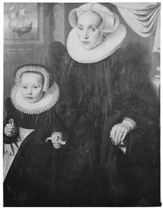 Portret van Elisabeth Walings (...-na 1606) en haar dochter Elisabeth Sonck (1598-1657)