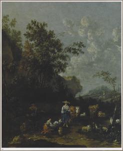 Landschap met herders en hun dieren