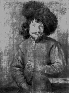 Portret van een man met pelsmuts en pijp