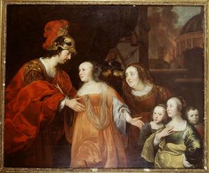 Portret van een familie als Volumnia met haar kinderen voor Coriolanus