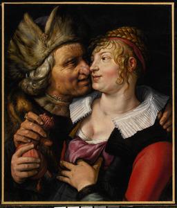 Ongelijke paar: een jonge vrouw door een oudere man met geld gepaaid